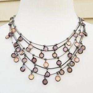 Multi Strand Blush and Purple Round Gem Necklace